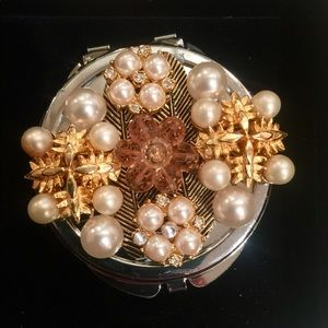 Handmade Mirror Compact with Vintage Jewelry